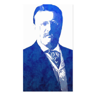 Pop Art Portrait Teddy Roosevelt Blue Business Card