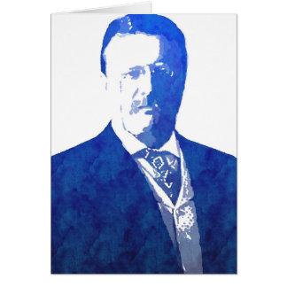 Pop Art Portrait Teddy Roosevelt Blue Card