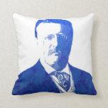 Pop Art Portrait Teddy Roosevelt Blue Pillows