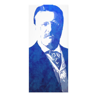 Pop Art Portrait Teddy Roosevelt Blue Rack Card
