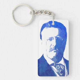 Pop Art Portrait Teddy Roosevelt Blue Single-Sided Rectangular Acrylic Keychain