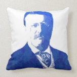 Pop Art Portrait Teddy Roosevelt Blue Throw Pillows