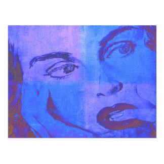 Pop Art Postcard with Vintage Female Face in Blue