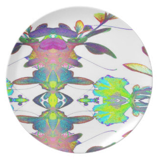 Pop Art Psychedlic Floral Abstract Designer Style Plate