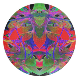 Pop Art Psychedlic Floral Face Abstract Designer Plates