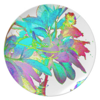 Pop Art Psychedlic Floral Garden Abstract Designer Party Plate