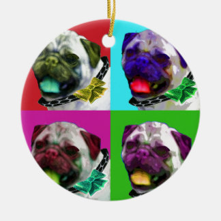 Pop Art Pug Ceramic Ornament
