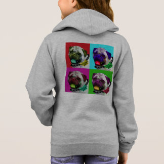 Pop Art Pug Girls Zip Hoodie