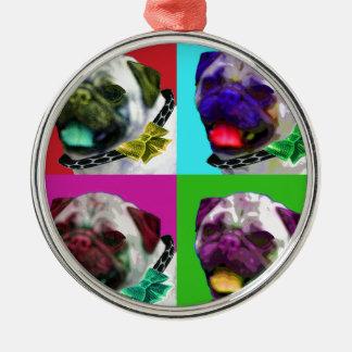 Pop Art Pug Metal Ornament