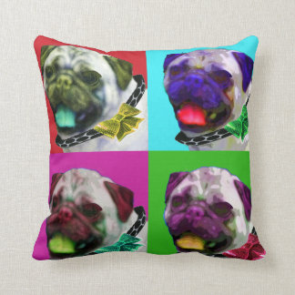 "Pop Art Pug Throw Pillow 16"" x 16"""
