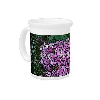 Pop Art Purple Green Butterfly Bush Beverage Pitcher