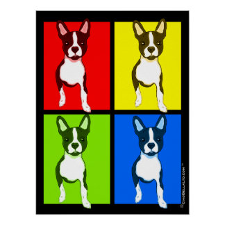 Pop Art Quad Colorful Boston Terrier Poster