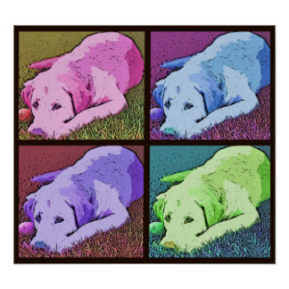 Pop Art Quad Yellow Labrador Retriever Poster