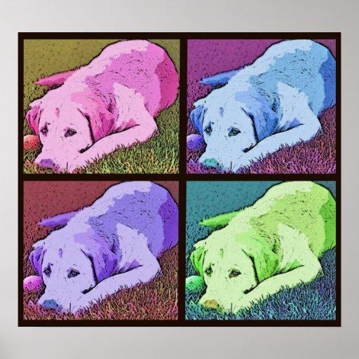 Pop Art Quad Yellow Labrador Retriever Print