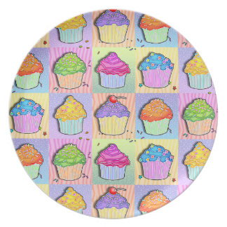 Pop Art Rainbow Cupcakes Plate