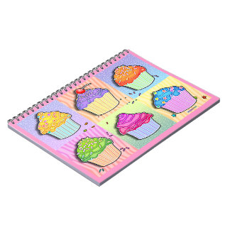 Pop Art Rainbow Cupcakes Recipe Notebook