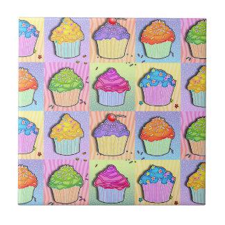 Pop Art Rainbow Cupcakes Tile