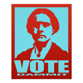 Pop-Art Red & Aqua Vote Dammit Susan B. Anthony Poster