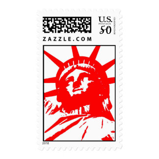 Pop Art Red & White Statue of Liberty Stamp
