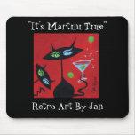 Pop Art Retro Martini Black Cat Mousepad