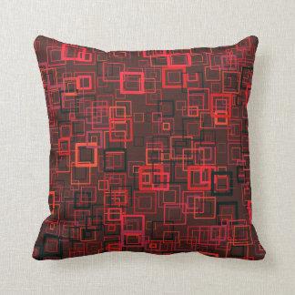 Pop art retro pop squares maroon red throw pillow