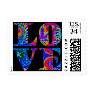 Pop Art / Retro tie-dye LOVE stamps