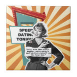 Pop Art Retro Woman Baggage Tile