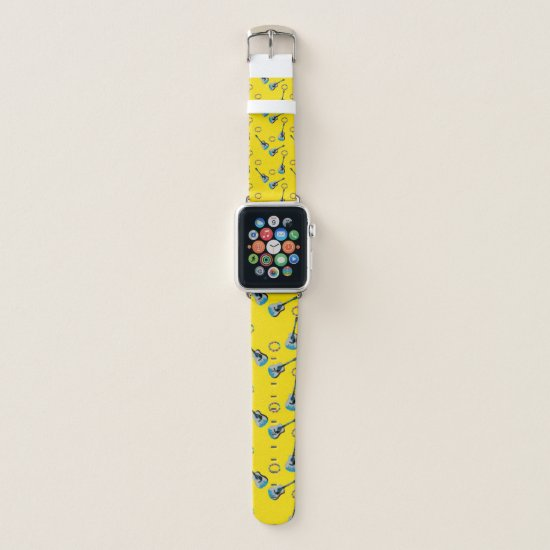 Pop Art Retro Yellow Guitar Watch Apple Watch Band