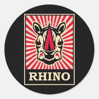Pop Art Rhinoceros Classic Round Sticker