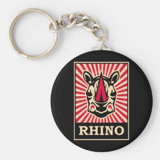 Pop Art Rhinoceros Keychain