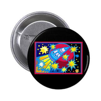 Pop Art Rocket Pinback Button