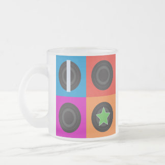 Pop Art Roller Derby Symbols Frosted Glass Coffee Mug