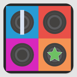 Pop Art Roller Derby Symbols Square Sticker