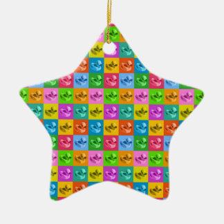 pop art rubber ducks Double-Sided star ceramic christmas ornament