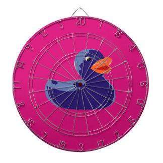 Pop Art Rubber Ducky Blue Pink Duck Dartboard With Darts