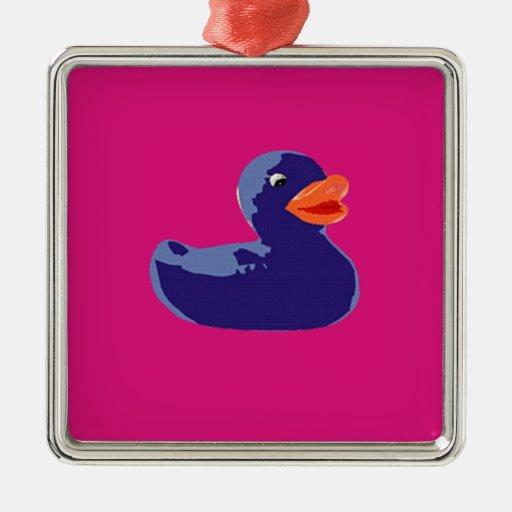 Pop Art Rubber Ducky Blue Pink Duck Square Metal Christmas Ornament