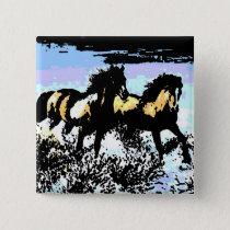 Pop Art Running Horses Pinback Button