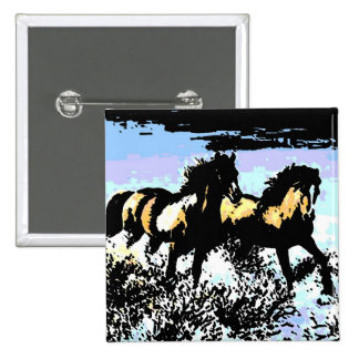Pop Art Running Horses Pinback Button
