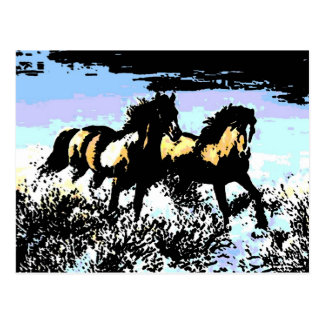 Pop Art Running Horses Postcard