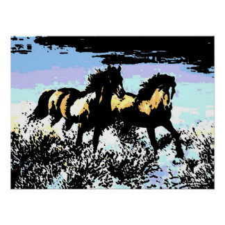 Pop Art Running Horses Print Poster