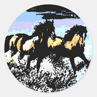 Pop Art Running Horses Round Sticker