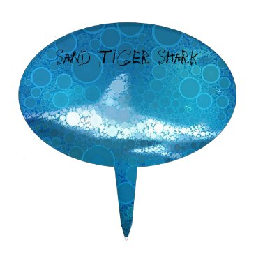 Beach Themed Pop Art Sand Tiger Shark Cake Topper