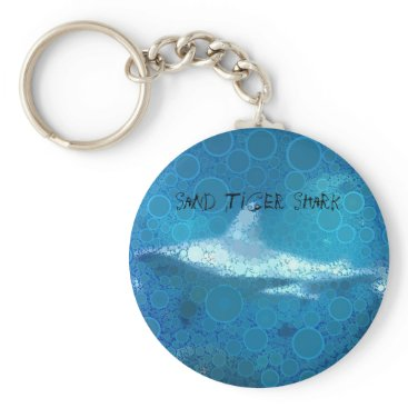 Beach Themed Pop Art Sand Tiger Shark Keychain