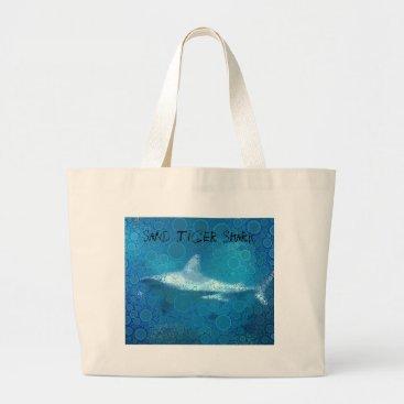 Beach Themed Pop Art Sand Tiger Shark Large Tote Bag
