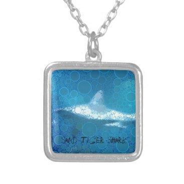 Beach Themed Pop Art Sand Tiger Shark Silver Plated Necklace