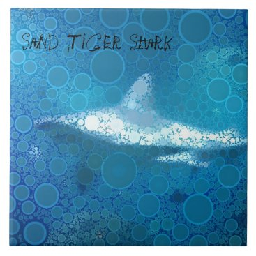 Beach Themed Pop Art Sand Tiger Shark Tile