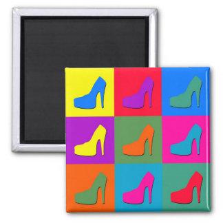 Pop art shoes 2 inch square magnet