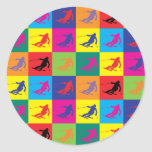 Pop Art Skiing Classic Round Sticker