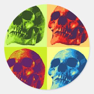 Pop Art Skull Classic Round Sticker