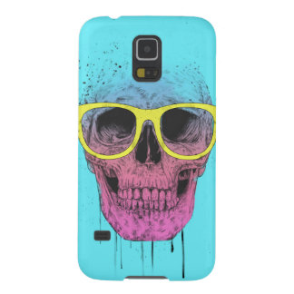 Pop art skull with glasses case for galaxy s5